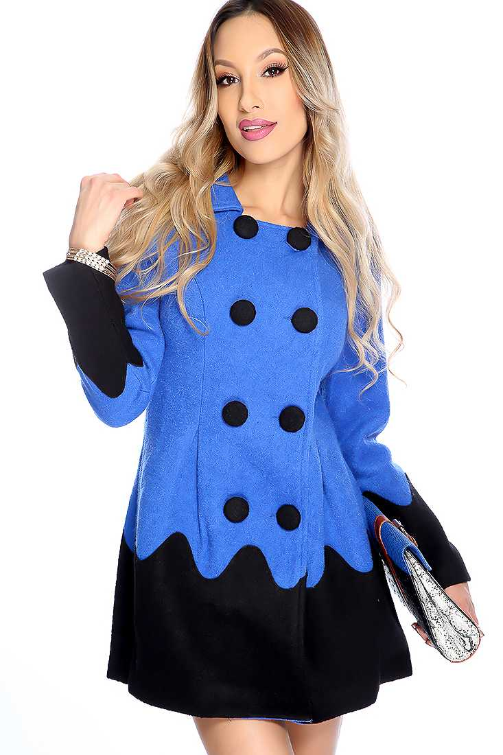 Royal Blue Black Long Sleeve Button Detail Coat
