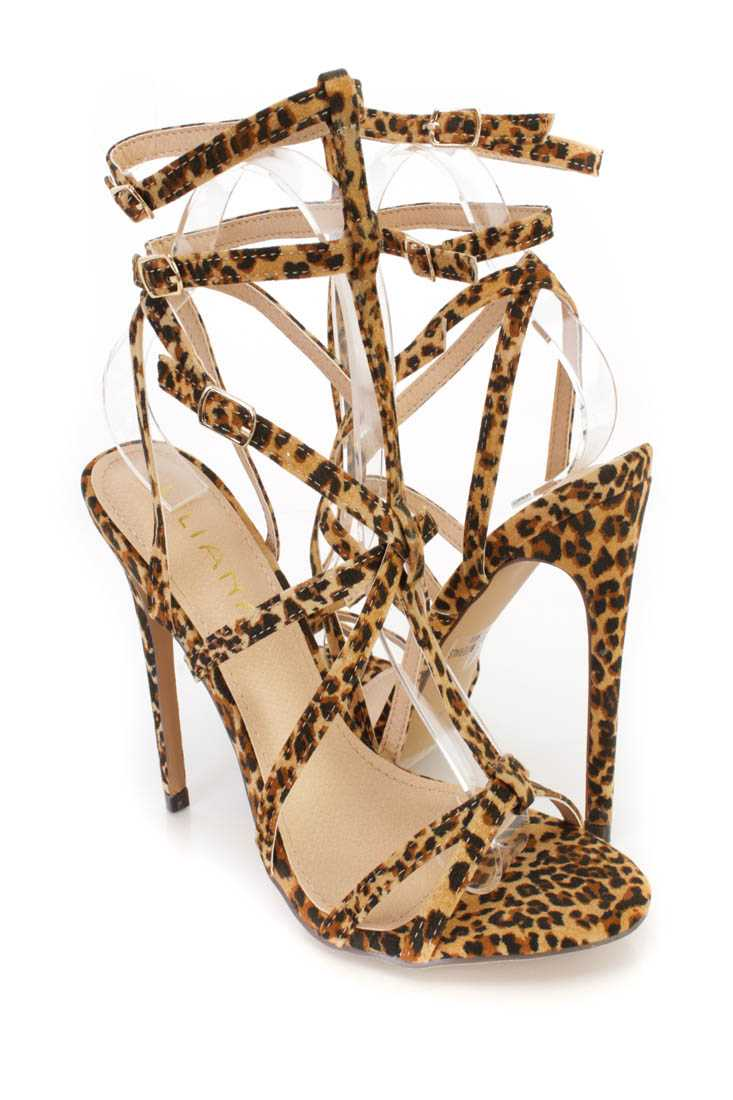 Leopard Strappy Single Sole High Heels Faux Leather