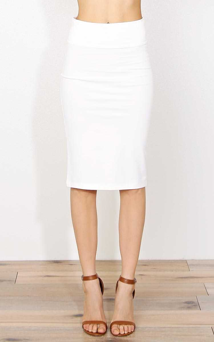 White Basic Knit Pencil Skirt - SML - Ivry/Natrl in Size Small by Styles For Less