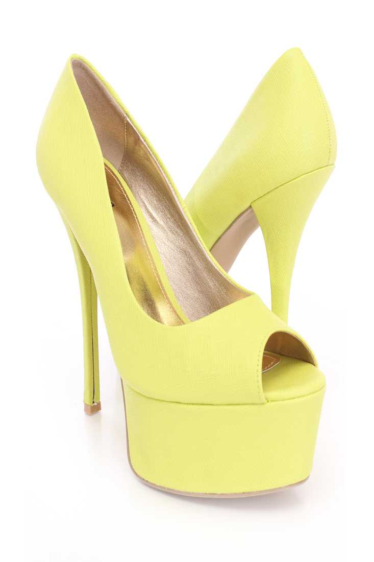 Lemon Lime Texture Peep Toe Platform Pumps Faux Leather