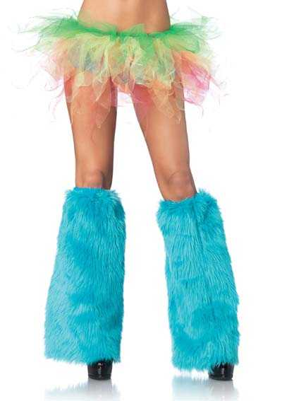 Turquoise Furry Leg Warmers