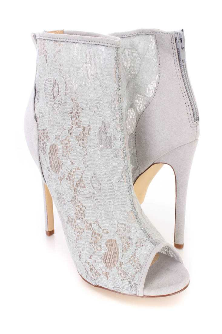 Grey Peep Toe Single Sole Ankle Booties Lace