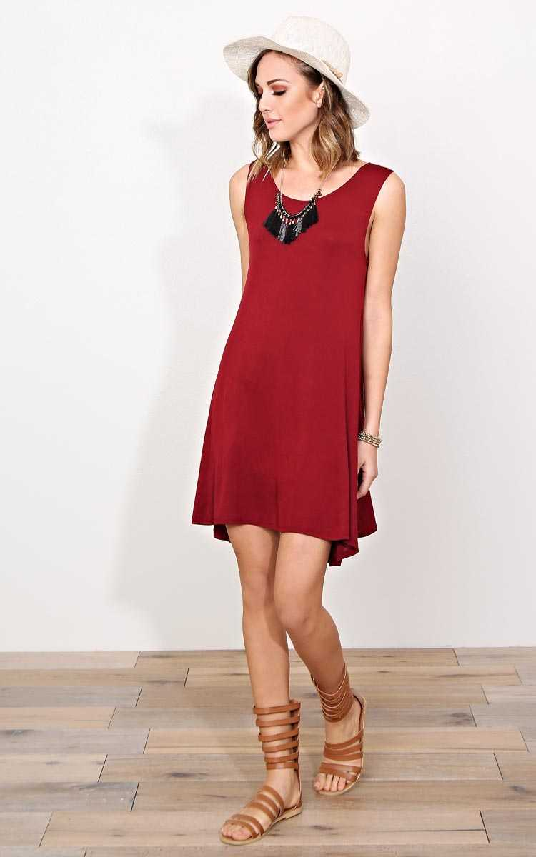 Burgundy Into Swing Knit Dress - - Burgundy in Size by Styles For Less