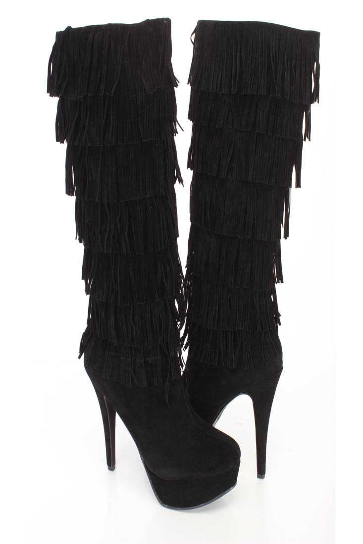 Black Fringe Round Close Toe High Heel Boots Faux Suede