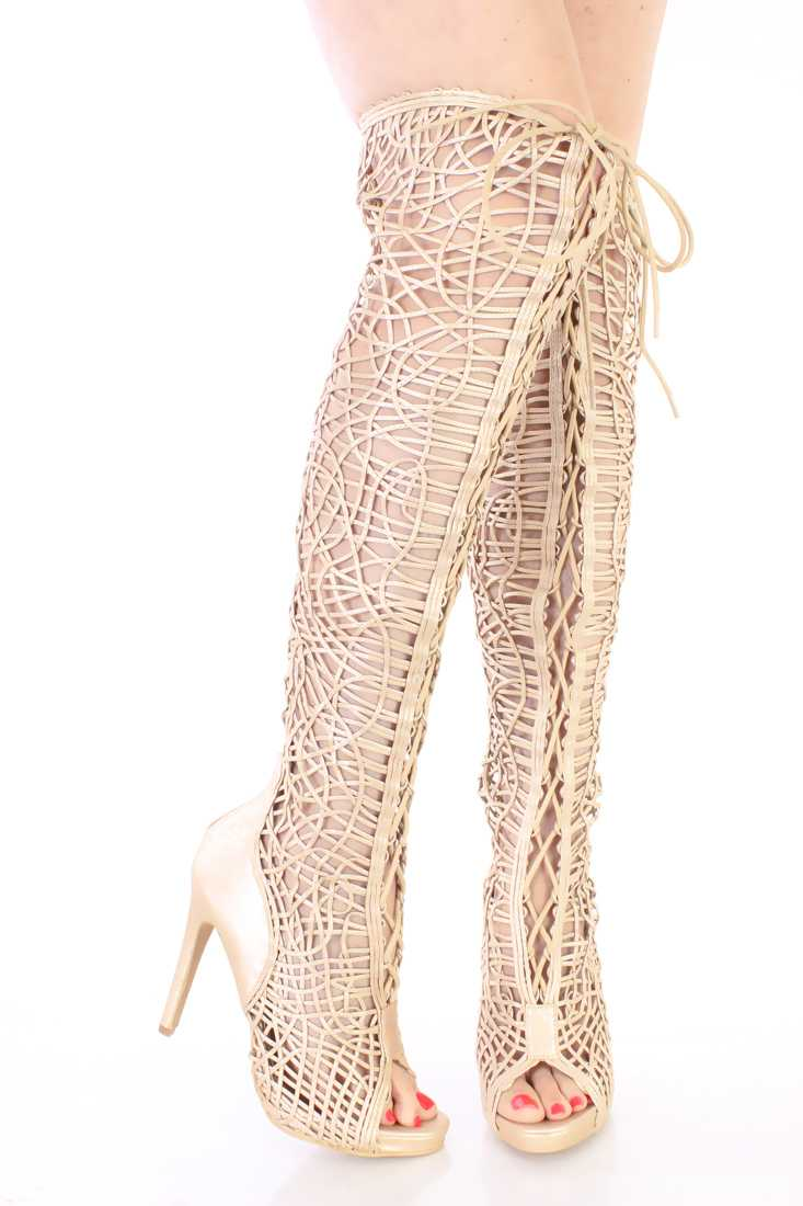 Gold Lace Up Single Sole Thigh High Boots Faux Leather