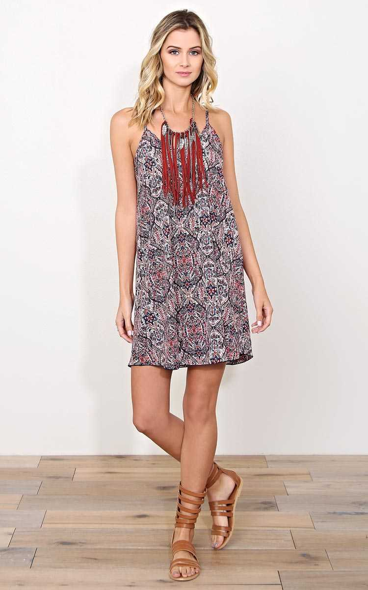 Spring Luncheon Woven Slip Dress - SML - Navy Combo in Size Small by Styles For Less