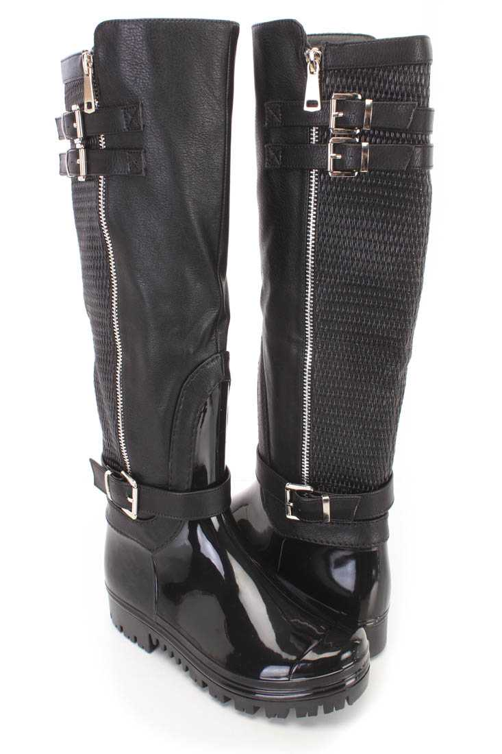 Black Strappy PVC Rain Riding Boots Faux Leather