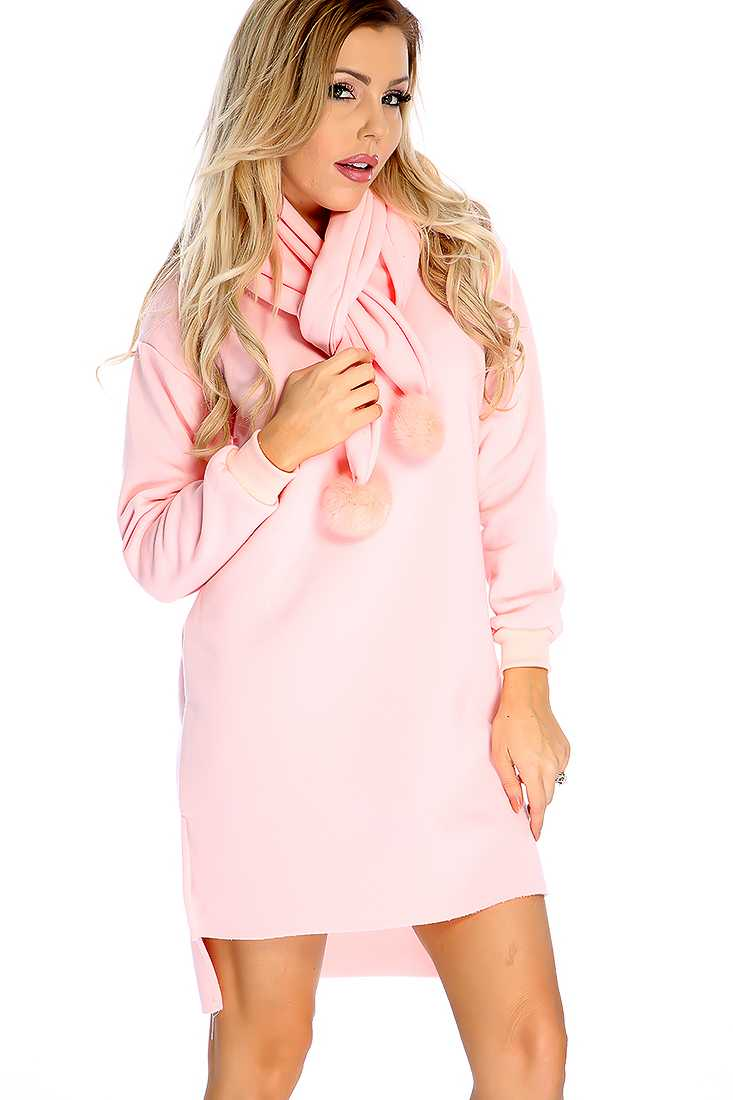 Casual Peach Long Sleeves Scarf Sweater Dress