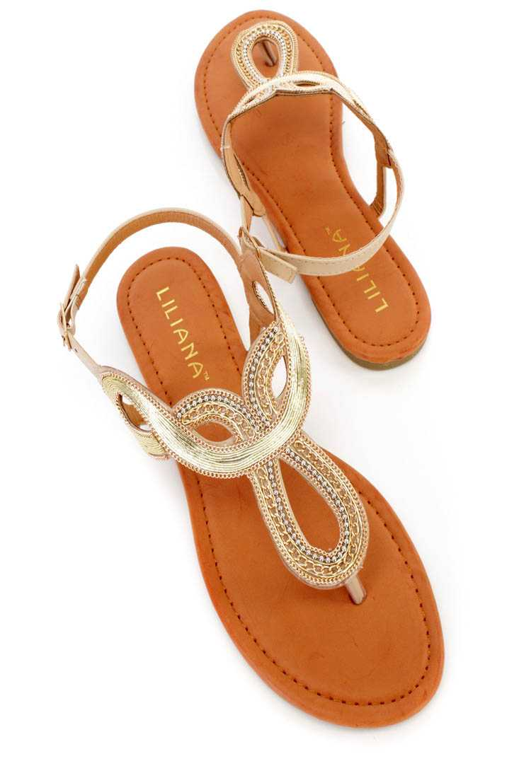 Beige Chain Detailed Thong Sandals Faux Leather