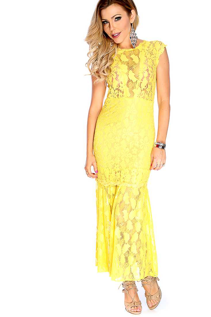 Sexy Yellow Crochet Sleeveless Maxi Prom Dress