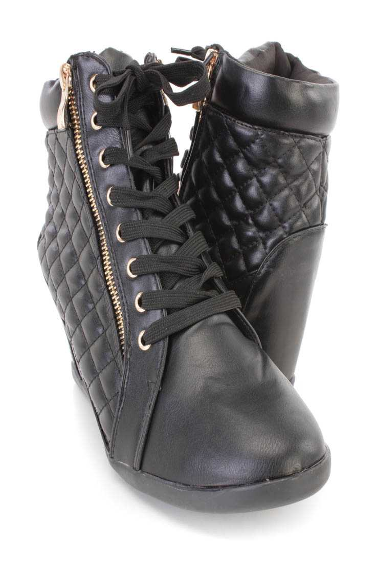 Black Lace Up Quilted Sneaker Wedges Faux Leather