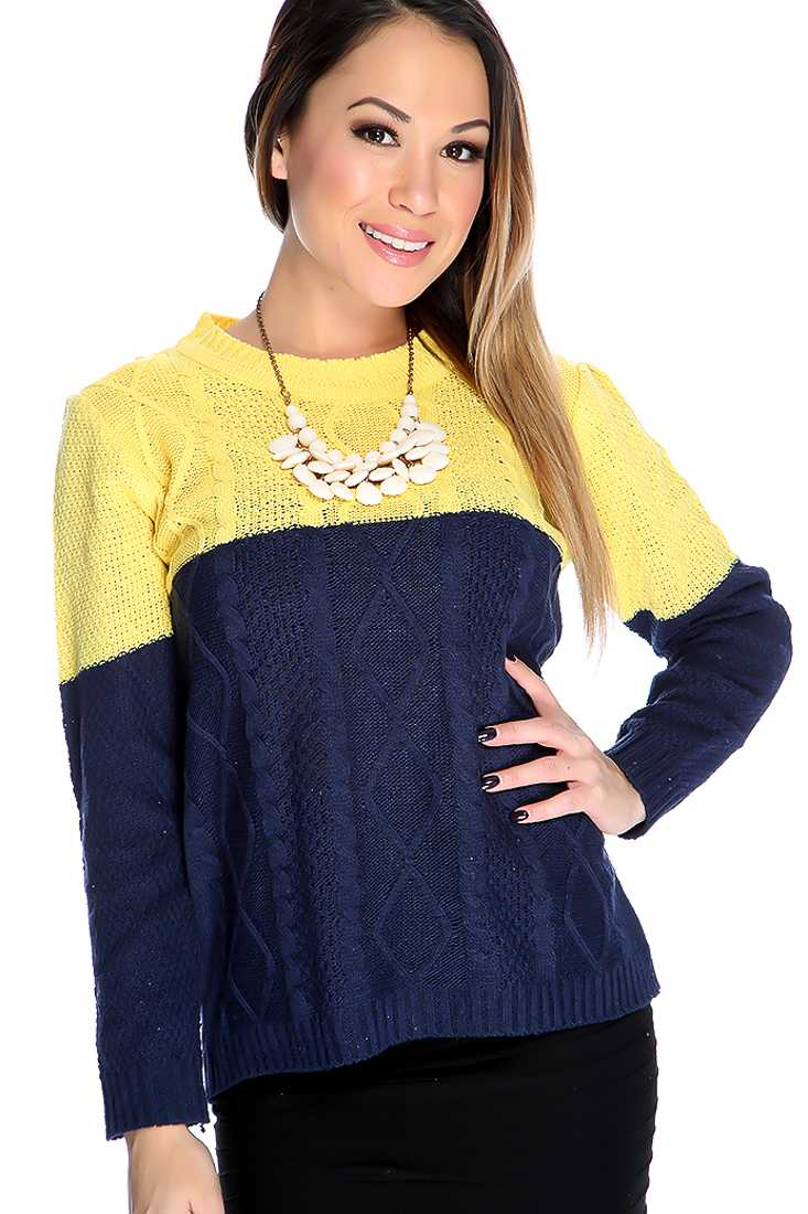 Navy Yellow Long Sleeves Two Tone Open Knitted Sweater