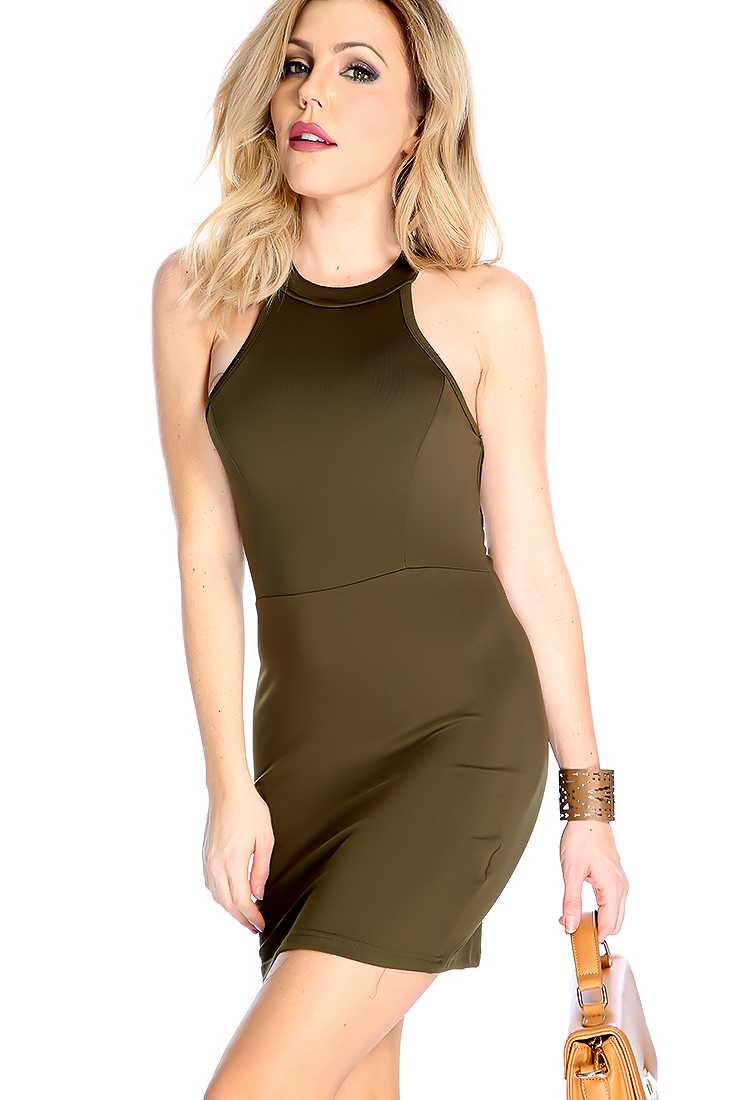 Sexy Army Green Sleeveless Strappy Back Party Dresss