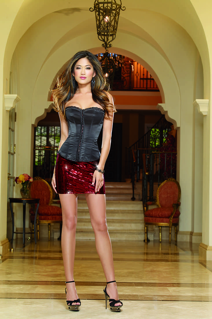 Rouge Sequin Stretch Mini Skirt