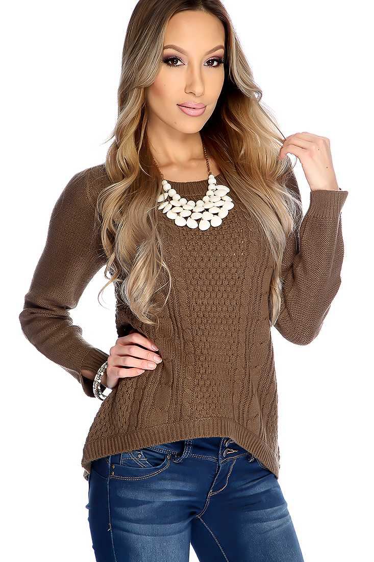 Brown Cable Knitted High Low Sweater Top