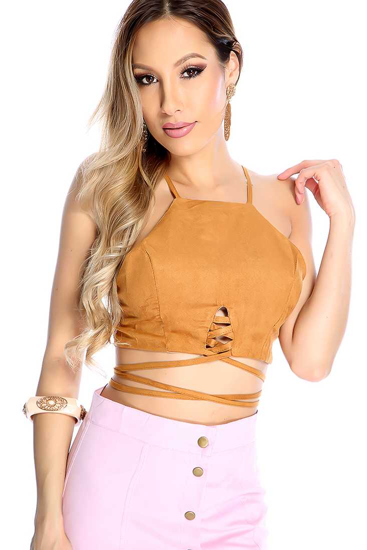 Sexy Camel Sleeveless Zip Up Strappy Crop Top
