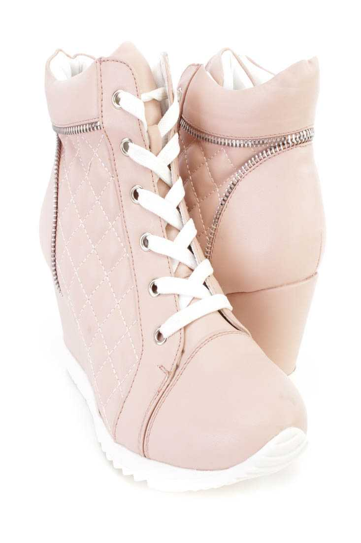 Light Coral Quilted Lace Up Sneaker Wedges Faux Leather