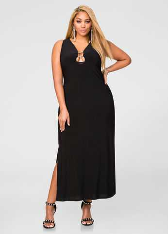 Plunging Double Bar Maxi Dress