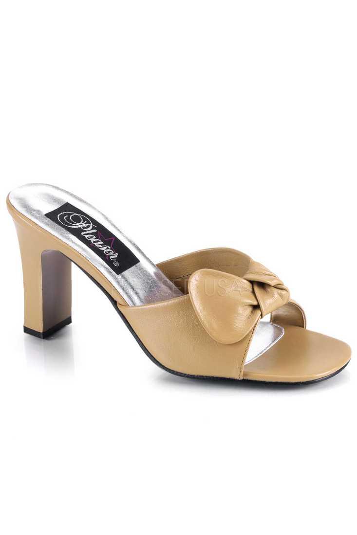 Tan Slip On Bow Tie Square Heel Heel Faux Leather
