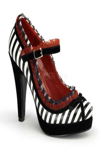 Black White Faux Leather Stripe Print Ruffled High Heels