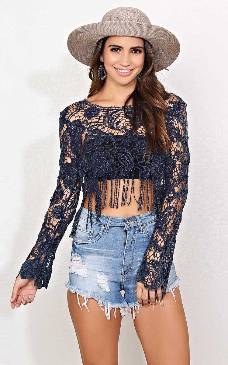 Jolene Crochet Crop Top - - Navy in Size by Styles For Less