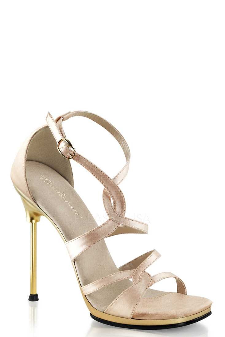 Nude Strappy Criss Cross Satin Sandal High Heels
