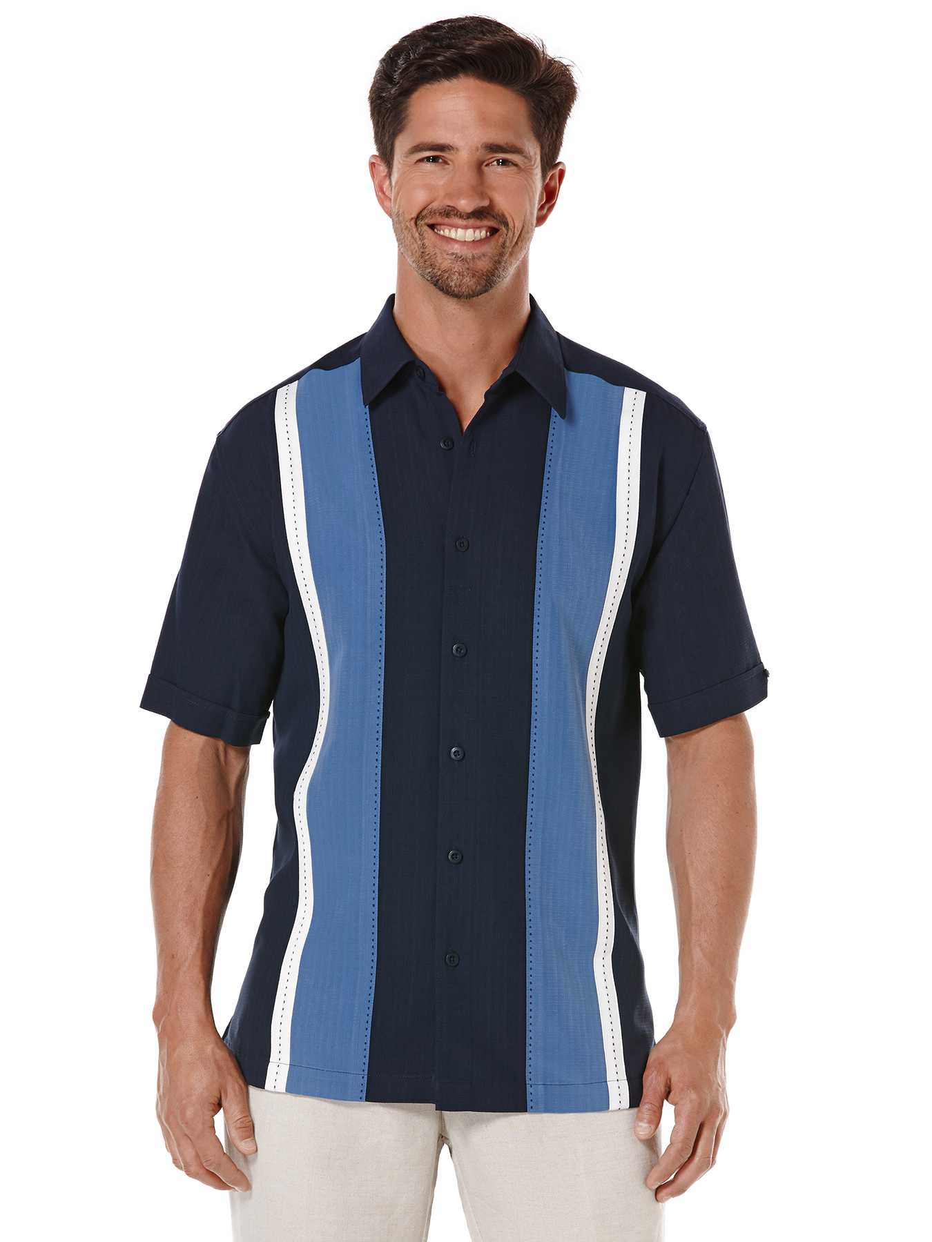 Cubavera Big & Tall Short Sleeve Texture Tri-Color Panel