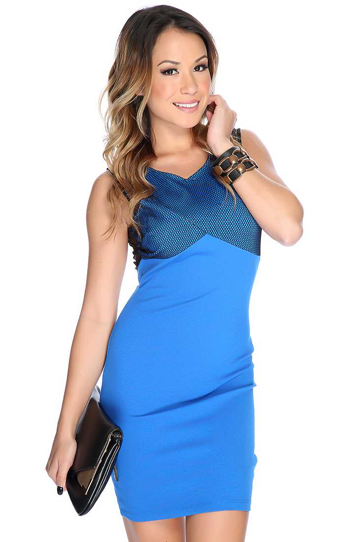 Royal Blue Black Netted Decor Sexy Bodycon Party Dress