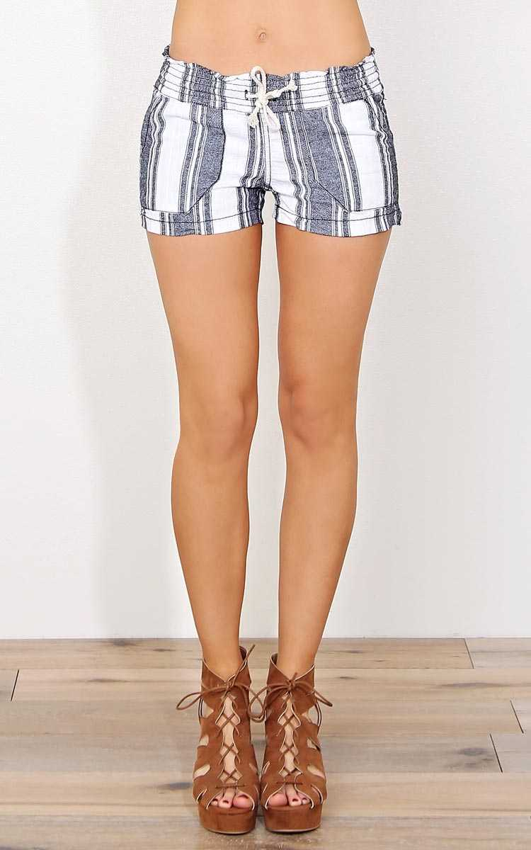 Irene Drawstring Linen Shorts - - White Combo in Size by Styles For Less