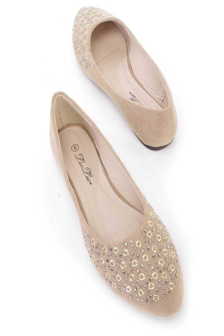 Khaki Studded Almond Toe Ballerina Flats Faux Suede