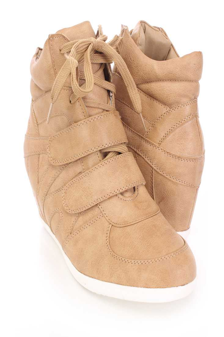 Camel Lace Up Strappy Sneaker Wedges Faux Leather