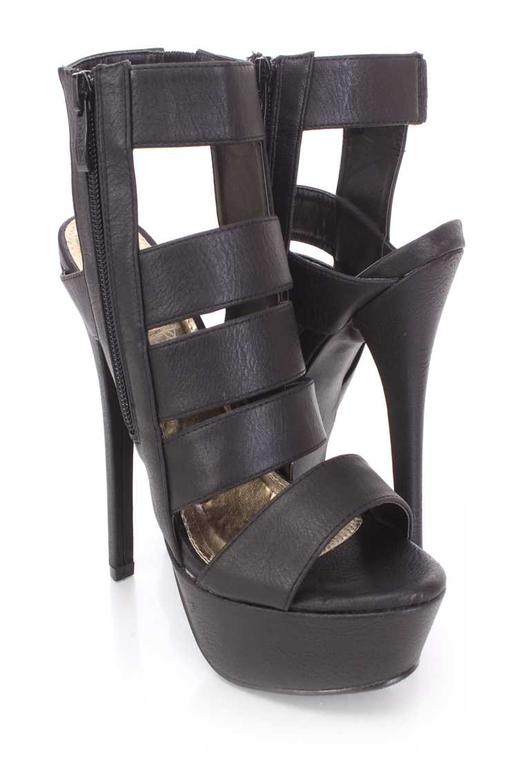 Black Strappy Bootie Heels Faux Leather