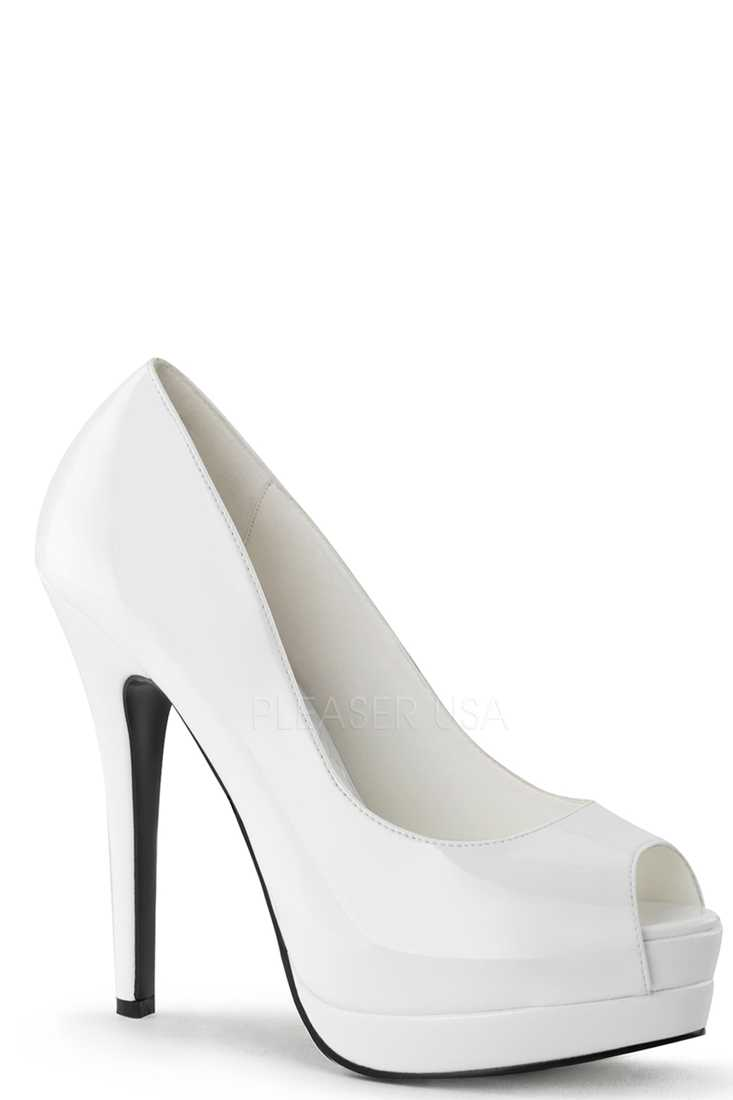 White Peep Toe Pump High Heels Patent Faux Leather