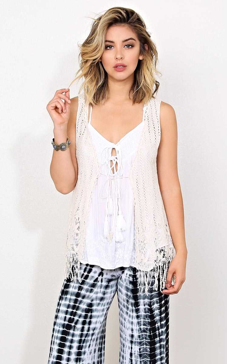 Festival Moves Crochet Vest - - Natural in Size by Styles For Less