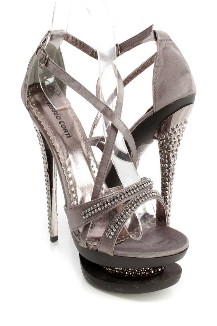 Pewter Rhinestone Cross Strappy 6 Inch High Heels Satin