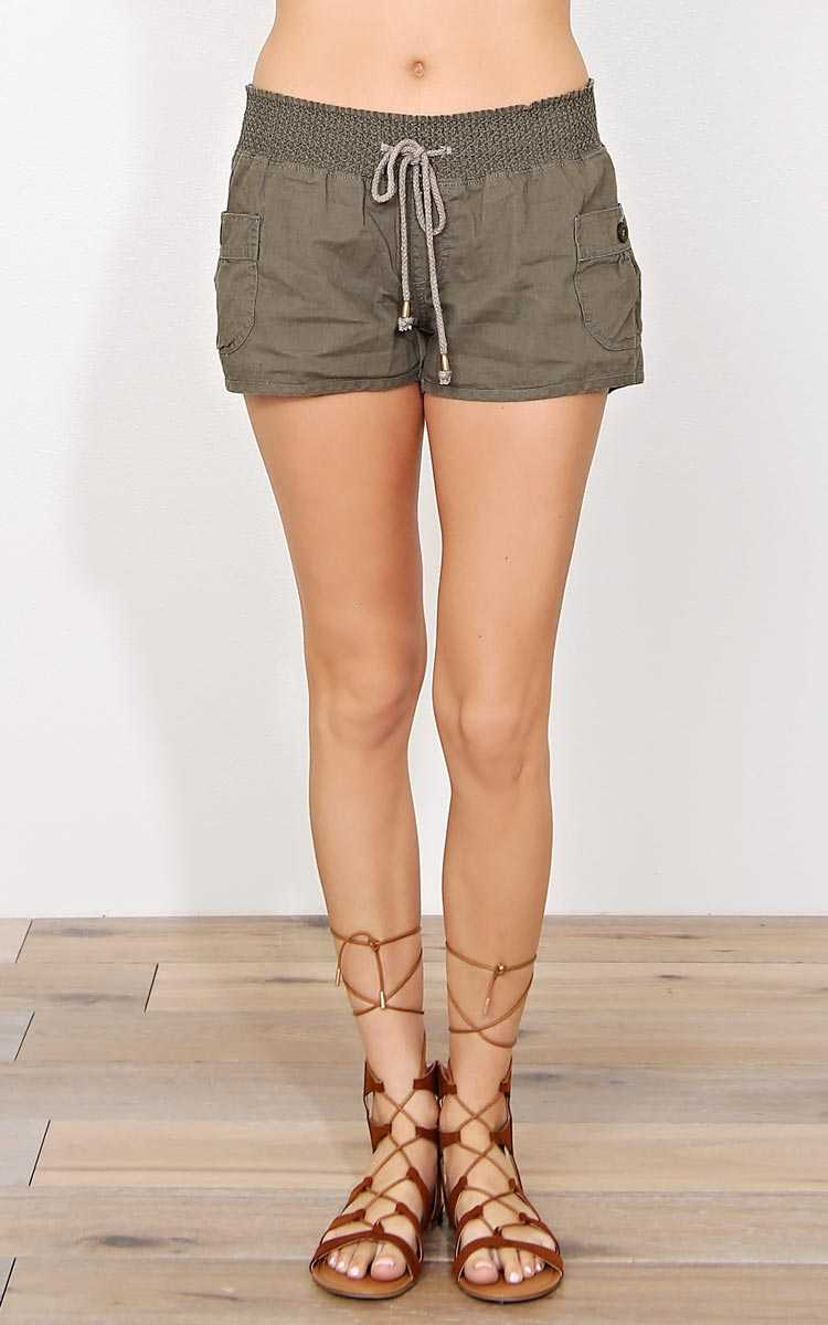 Boat House Linen Shorts - - Olive/Drab in Size by Styles For Less
