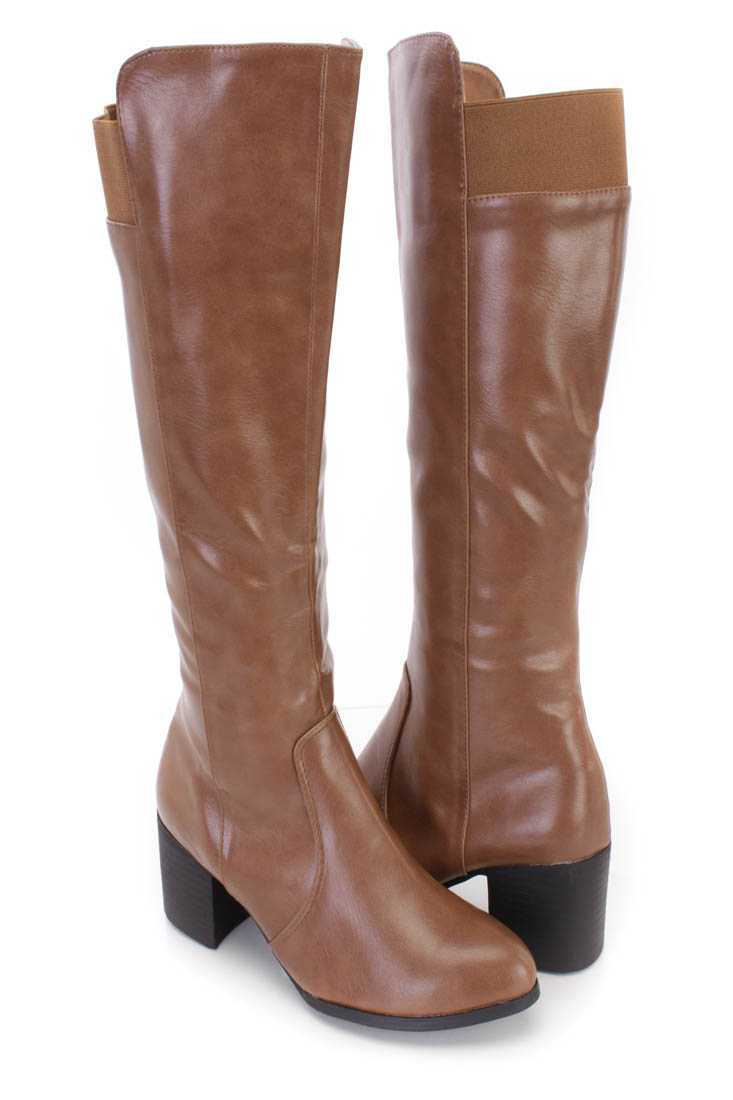 Taupe Knee High Chunky Heel Boots Faux Leather
