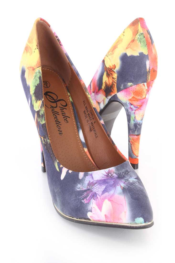 Black Floral Print Single Sole Pump High Heels Faux Suede