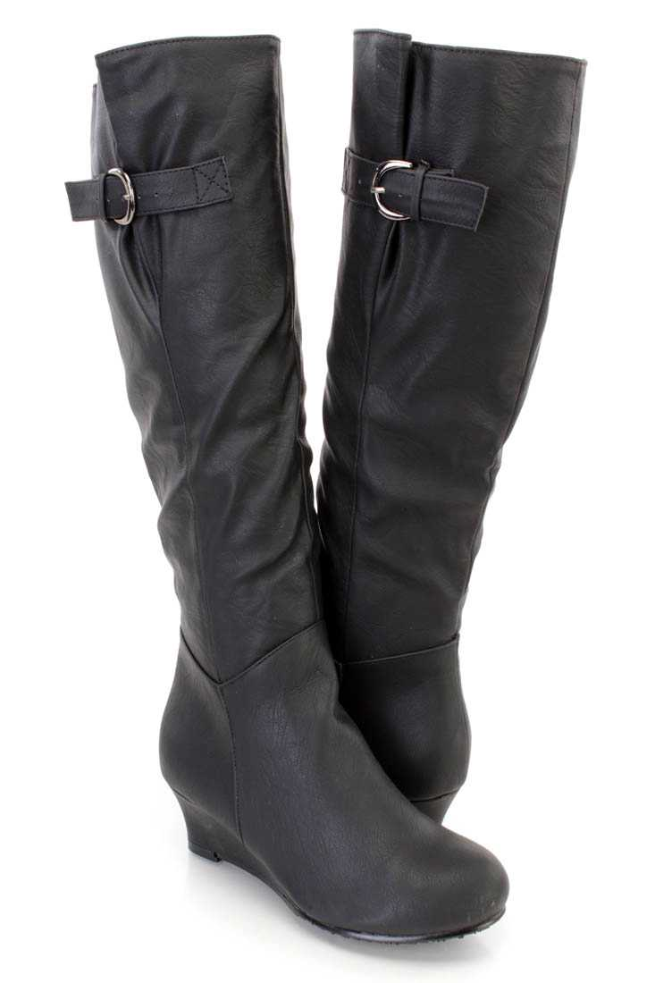 Black Knee High Wedge Boots Faux Leather