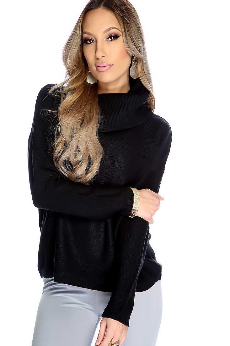 Black Long Sleeves Off Shoulder Sweater