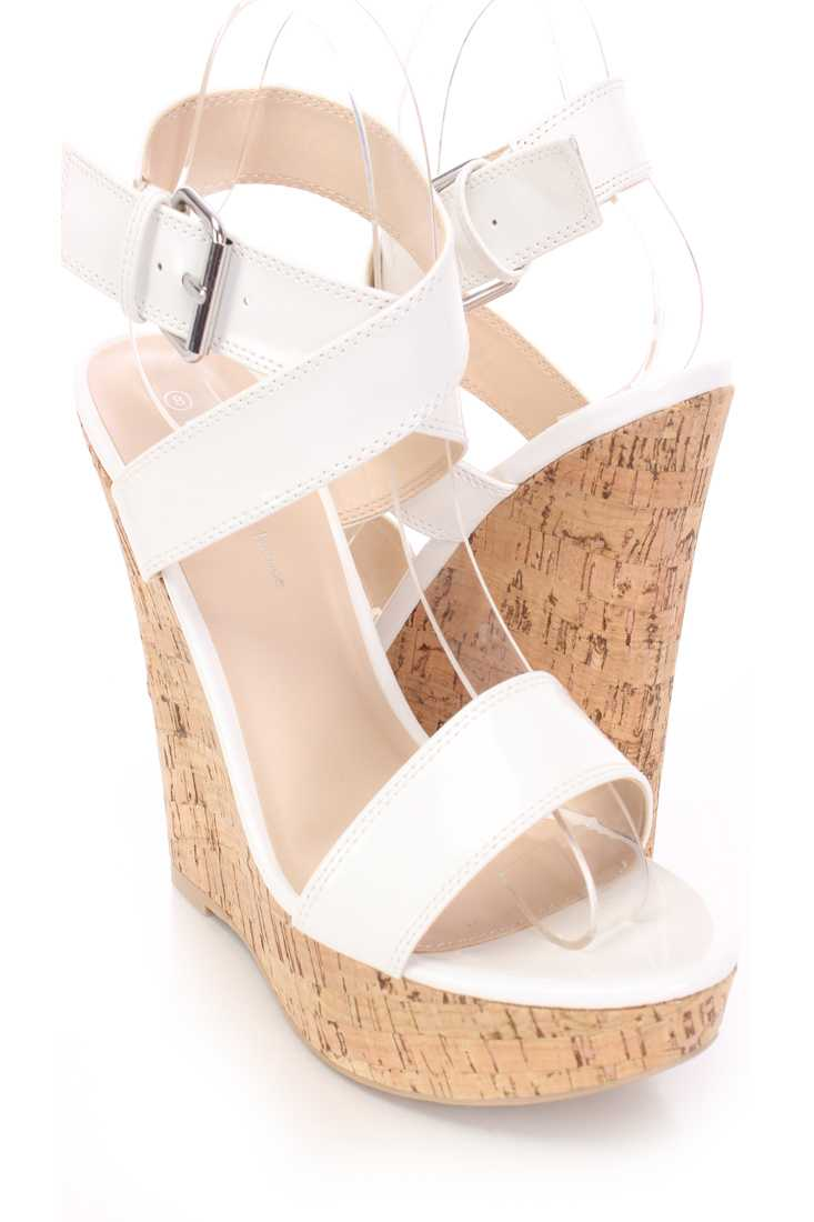White Cross Strap Cork Platform Wedges Patent
