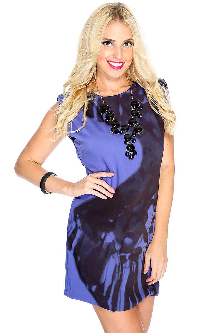 Navy Printed Sleeveless Chic Mod Dress