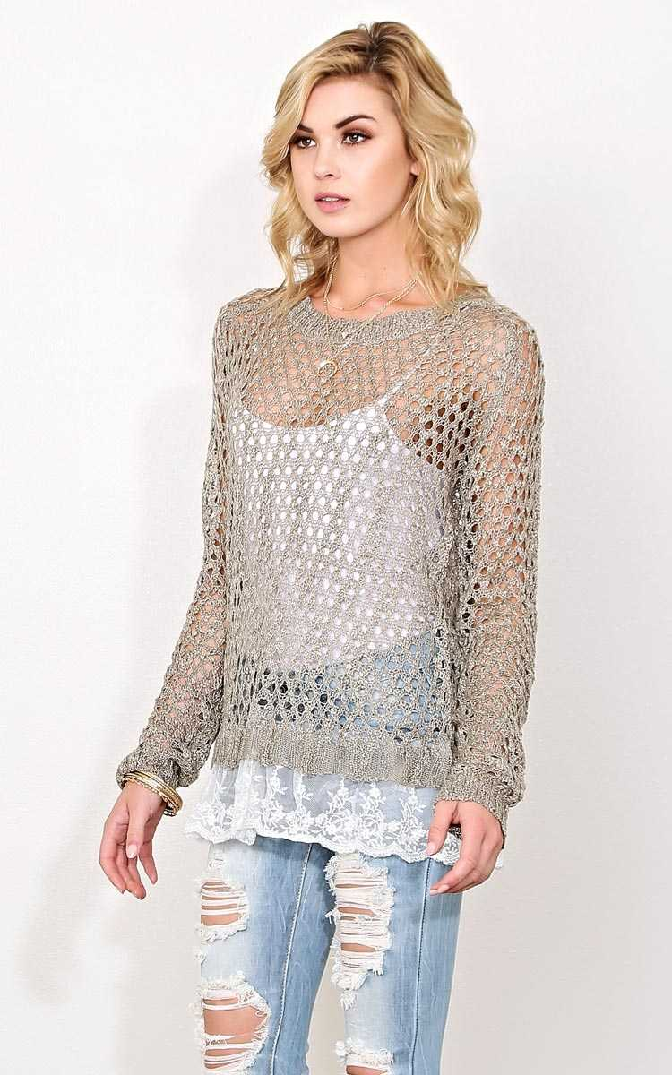 Wild Fields Eyelet Knit Sweater - - Olive/Drab in Size by Styles For Less