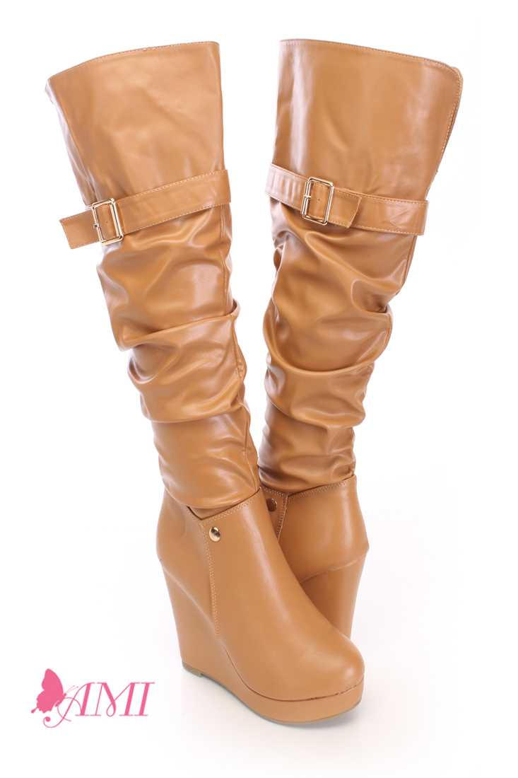 Tan Slouchy Wedge Boots Faux Leather