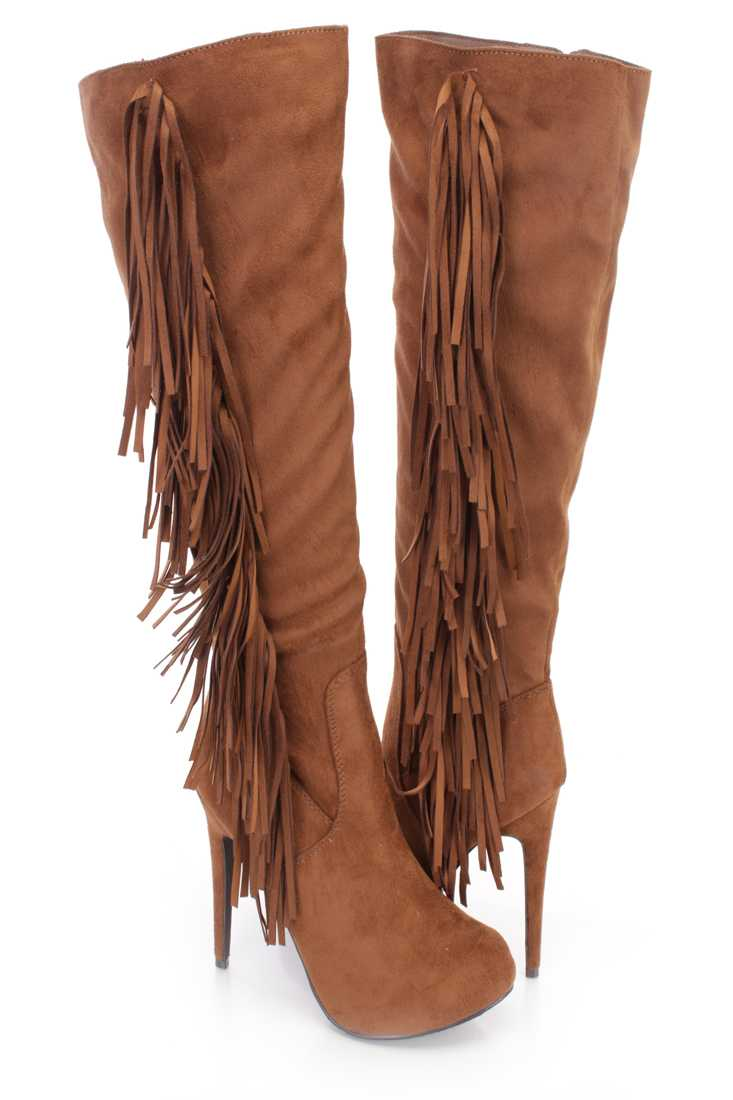 Tan Side Fringe Knee High Boots Faux Suede