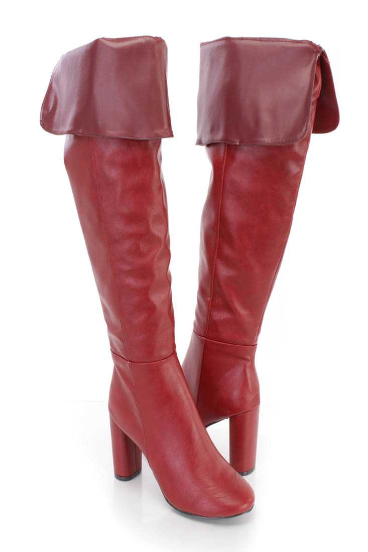 Red Cuffed Chunky High Heel Boots Faux Leather