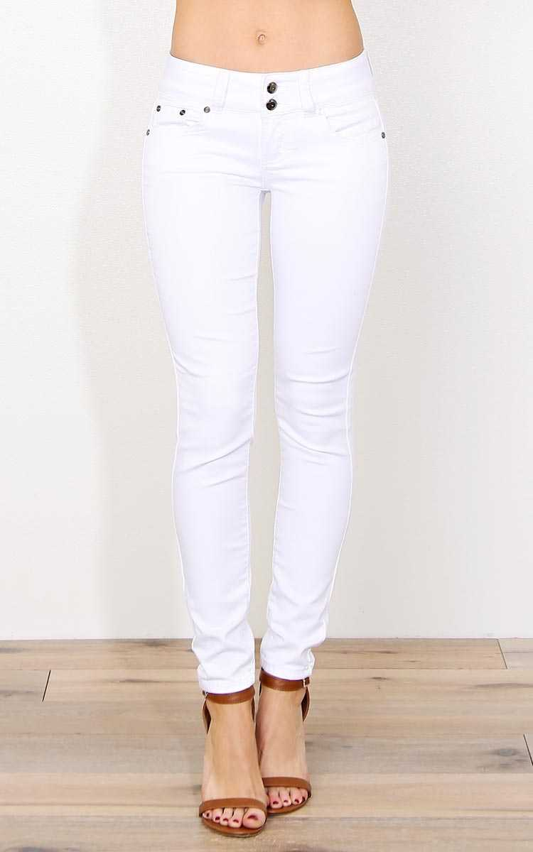 Memphis Medium Rise Twill Pants - White Denim in Size by Styles For Less