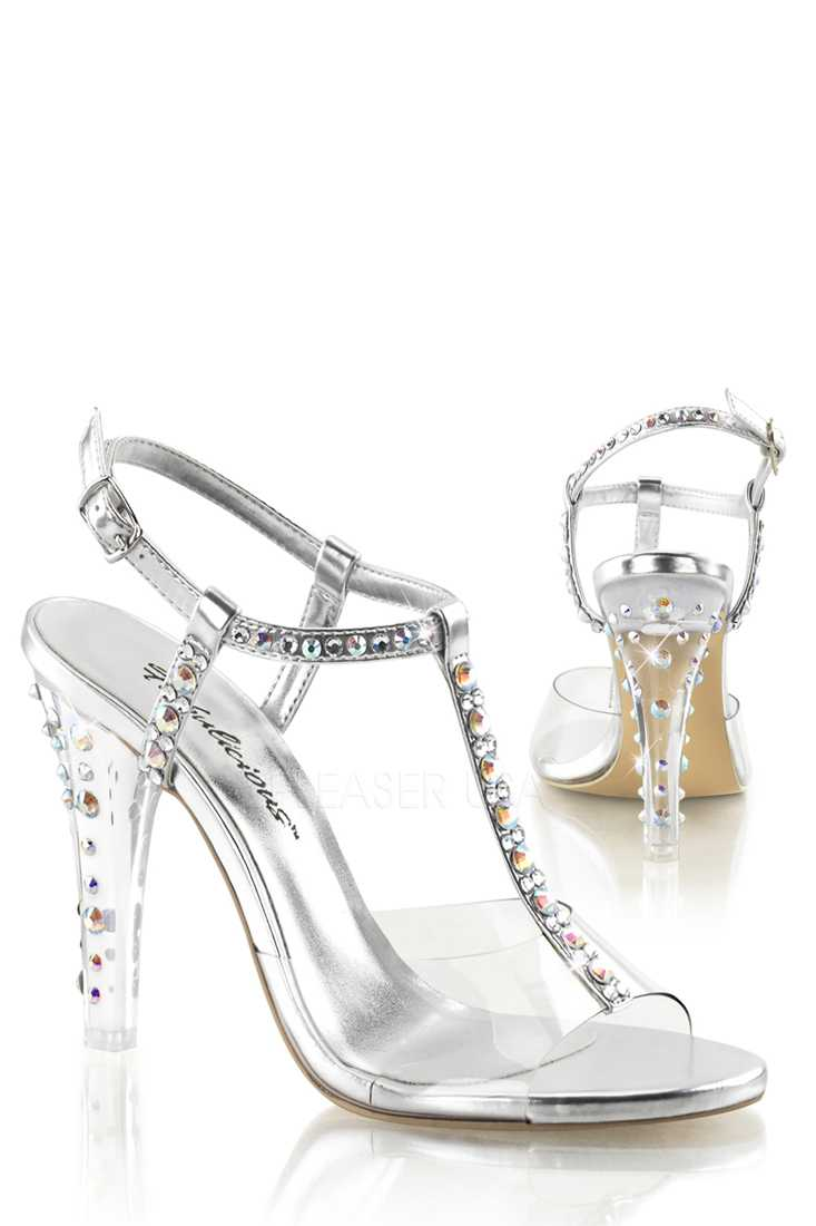 Clear Silver Rhinestone T Strap High Heels Faux Leather