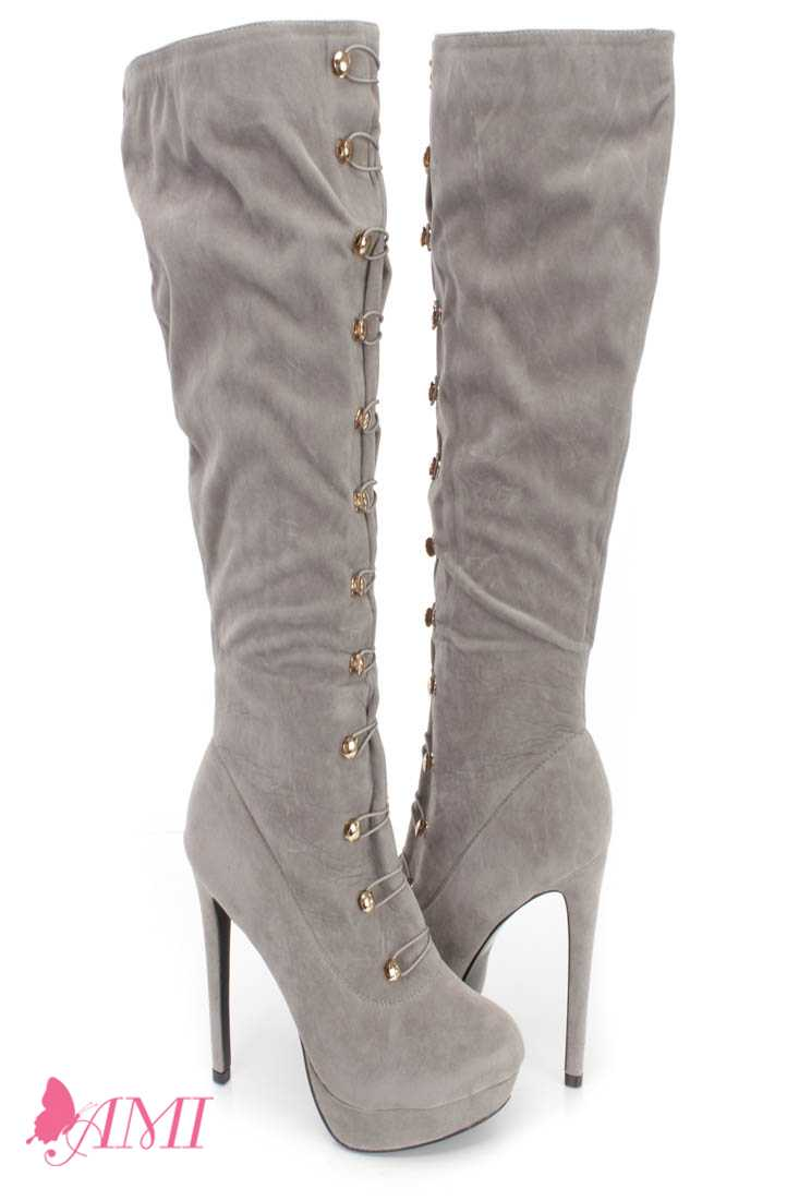 Grey Hook Loop High Heel Boots Faux Suede