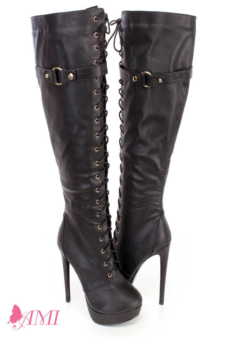 Black Lace Up Thigh High Fall High Heel Boots Faux Leather